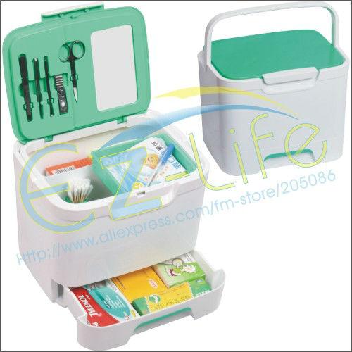 Big capacity plastic multi-purpose first aid kit box, home medicine storage box, organizer case with makeup tool set + mirror(China (Mainland))