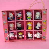 Free shipping 12 pcs/set Gift set Hello kitty novelty toy anime doll set kids lovely gift plastic doll Mini PVC toy dolls