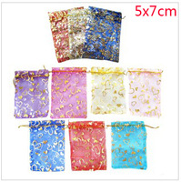 Free Shipping! 5X7CM1000 PCS/LOT Small size fashion jewelry packaging bag organza pouch Christmas gift pouch multi-color BX0077