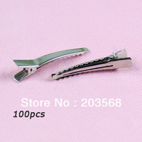 D19+100pcs/lot Single Prong Metal Alligator Clips Hair Barrettes Korker Bow Wholesale