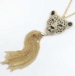 Christmas jewelry gift wholesale health care vintage lion head pendant long necklace handmade women's vintage jewelry X029(China (Mainland))