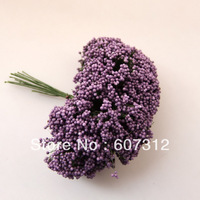 144pcs / lot Purple  foam leeks flower  with wire stem/  decoration handmade flower  free shipping