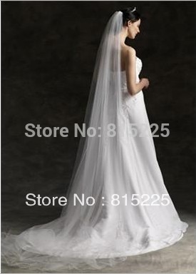 Elegant New Charming Empire Wedding Veils Bridal Veils Tulle Fabric Ruffle One Layer Chapel Train Veil White Low Price Hot 2013(China (Mainland))