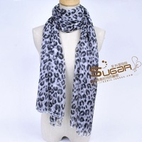 Free shipping Elegant women's mulberry silk leopard print scarf ultra long cape noble silk scarf black and white
