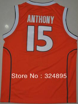 mix order Syracuse Orange Carmelo Anthnoy #15 orange College Basketball good quality ,sz48-56