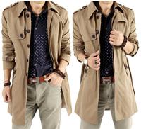Gentlemen casual business long design trench coat winter plus size men turn down collar jacket outerwear free shipping MW0022