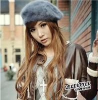 Free Shipping Korean Style Artificial Rabbit Fur Winter Beret Earmuffs ladies' Cap Lovely Beret Winter Cap