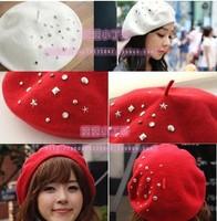 Free shipping Fashion Wool Beret Cap rivet diamond stars Lady Hat Warm winter hat