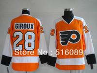 Wholesale!Free shipping!Cheap Philadelphia Flyers 28# GIROUX Orange jersey men's ice hockey jerseys