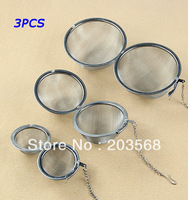 3pcs/lot Stainless Steel Sphere Locking Spice Tea Ball Strainer Mesh Infuser Filter Size 5CM/7CM/9CM
