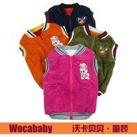 FREE shipping Wholesale 3pcs/lot, Rabit thick warm Corduroy Children vest,warm fleece inside,85-95cm Children non sleeve coat