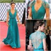 Elegant Kate A Line V Neck Cap Sleeve Chiffon Blue Evening Dresses 2013 With Crystals Beads(MDE12118)
