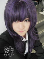 175 New Long Purple Mixed Black Cosplay Party Wig