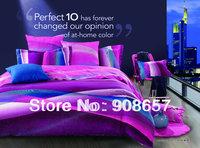 500TC abstract design purple blue pink omber discount cotton bed linen 3D bedding set duvet cover for full/queen comforter quilt
