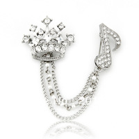 Free shipping,new fashion royal imperial crown&musical note rhinestone brooch,men&women's fashion accessories,New year Gift