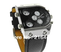 Free shiipping Hot sale  Army Watch Time Three Pilot Army Analog Oulm 3 Dials Outdoor Sport Men Leather Milltary Watches