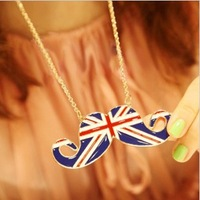 12pcs/lot  Europe Style UK Flag Mustache Necklace sweater chain Pendant Necklace Free Shipping Fashion