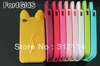 KOKO Cat Cute Ear Design Silicone Skin Back Case Cover For iphone 4 4G 4S Free Shipping 10pcs/lot