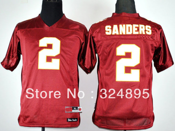 mix order youth Florida State Seminoles Deion Sanders 2 Red College Football kids good quality ,s-xl