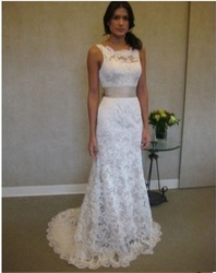 Exquisite beautiful Mermaid Square open low back lace wedding dresses 2012(China (Mainland))