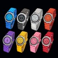 2012 New Fashion Ladies brand GENEVA Watch Classic Gel Crystal Silicone Jelly watch Min order 10 pcs Free Shipping