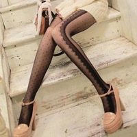 2012 Fashion Warm  Sidepiece Eyelash Lace Decoration Dot Ivory Polka Dot Stockings Meat Pantyhose