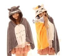 Totoro cat cape cartoon cloak coral fleece air blanket totoro blanket