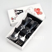 Free shipping 10pair/lot Wedding Keepsake Heart Spoon&Fork Wedding Return Gift