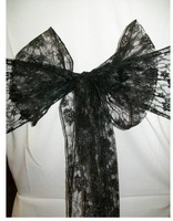 Free shipping     lace chair cover sash in  black colour