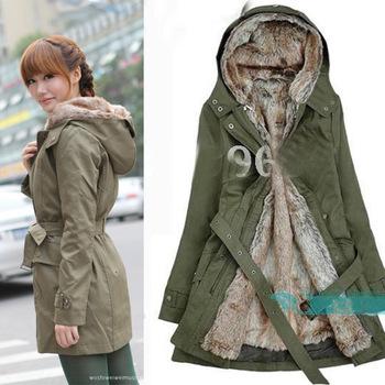 Two Colors 2012 Faux fur lining women's winter warm long fur coat jacket clothes wholesale Trench  S-XXXL