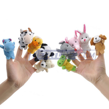 HOT! Animal Finger Puppets Soft Plush Velour,1 Set (10 Assorted Puppets),Finger toy,finger doll,baby dolls Baby Toys,Animal doll