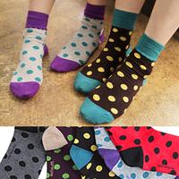 Candy color socks dot sock big polka dot color block decoration cartoon 100% cotton socks women's sock it's mixed colors