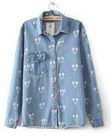 New 2014 women's dress shirts Mickey Mouse Denim shirt free shpping
