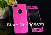 Wholesale - - Metal Full Body front + back Sticker Skin For iphone 5 5G brushed Aluminum Cover Case Protector