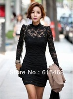 2012 Autumn Women's Lace Patchwork Slim Long/Sleeve Dress Free shipping EE/004