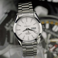 Hippocampal series of fine steel mass 3 needle double calendar back through automatic mechanical man watches