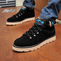 Winter nubuck leather skateboarding shoes brockden shoes fashion male shoes lacing martin shoes