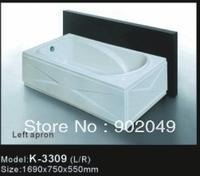 Bath Tub Factory Price Skirt Side Bathtub K-3309 White Acrylic Rectangle bathtub freestanding
