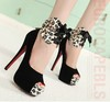 Free Shipping 2012 Women Bow Fish Mouth Leopard Platform Fashion Sexy Show 14cmHigh Heel Dress Shoes/Ladies Pump