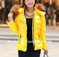 2012 women's short down jacket design slim,big racoon fur collar winter outerwear,lady's fashion warm coat&parkas,free shipping