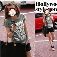 free shipping 2013 new arrival trendy short-sleeve t-shirt, women's spring and summer series, O-neck cotton tops