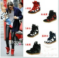 Drop Free Shipping 2012 Hot Isabel Marant Wedges Sneakers Women Shoes Height Increasing Fashion Boots Genuine Brand Color match