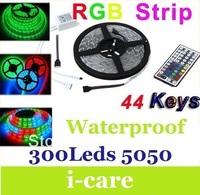 5050 SMD RGB 300 LED Strip Light 12V 14W/m 5100LM/5M High Brightness Led Flexible Rope Lamp Waterproof IP65 + 44Keys Controler
