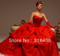 New Design DTG-3322 Elegant!! Ball gown Sweetheart Beading Red Organza Wedding Dress VESTIDO DE NOIVA