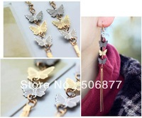 Free Shipping wholesale New 50pcs/lot Fashion Women Butterfly Crystal Tassels Metal Party Queen Stud Earrings Ear Cuff