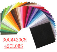 FREE SHIPPING 42piece 30CM*20CM/piece Polyester nonwoven felt fabric, DIY felt fabric pack,1MM thick, B201301