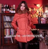 Wholesale women's down jacket,lady's warm racoon fur collar outwear,winter medium-long female down coat&parkas,free shipping