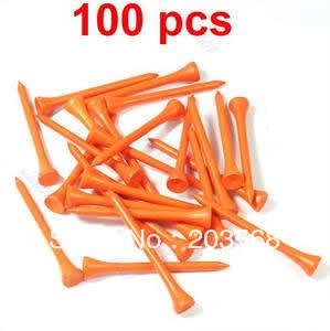 D19+100x Brand New Golf Ball Wood Tee Tees 70mm Orange Free Shipping