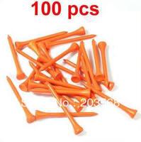 D19+100x Brand New Golf Ball Wood Tee Tees 70mm Orange Free Shipping