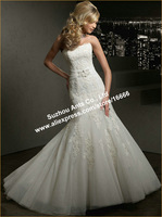 Top Quality Trumpet White Organza Appliques Strapless Bridal Wedding Dress Court Train WD1293